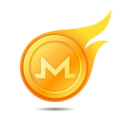 flaming monero coin symbol icon sign emblem vector image