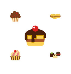 Flat cake set of dessert cake biscuit and other vector