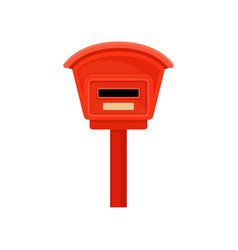 Flat icon of small mailbox on pole red vector