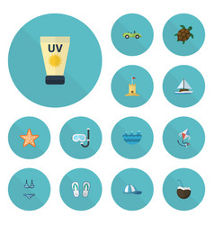 flat icons fly slippers anti-sun cream and other vector image