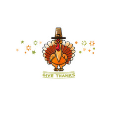 give thanks card cartoon turkey on white vector image