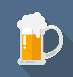 Glass of beer flat icon vector