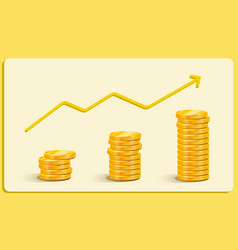 Gold coins earnings growth career growth business vector