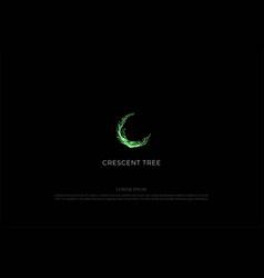 Green crescent moon tree roots logo design vector