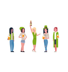 Group of mix race women in green clothes drink vector