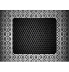 Grunge metallic mesh background with black panel vector