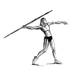 Hand sketch athlete throwing a javelin vector