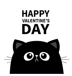 happy valentines day black cat face head vector image
