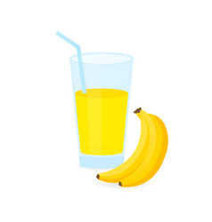 icon drink with fruit banana juice on white vector image