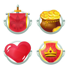 Icon set with heart knight flag and shield vector