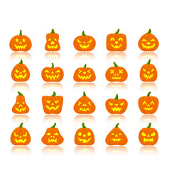 jack o lantern simple flat color icons set vector image