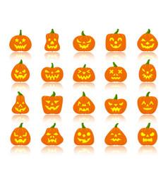 Jack o lantern simple flat color icons set vector