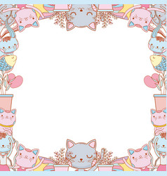 Kitty cats border template vector