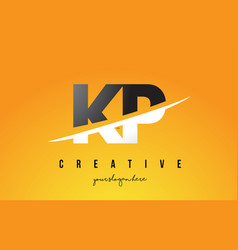 kp k p letter modern logo design with yellow vector image