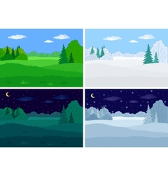 Landscape forest set vector