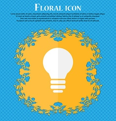 Light lamp Idea Floral flat design on a blue vector image