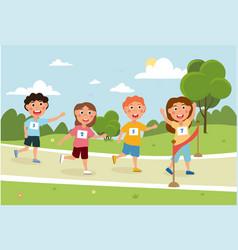 Little children are running outside in park vector