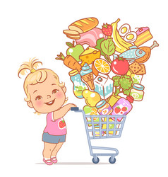 little girl with supermarket cart full food vector image