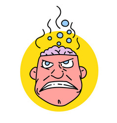 man with steaming brain vector image