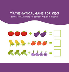 mathematical game for kids count sum and write vector image