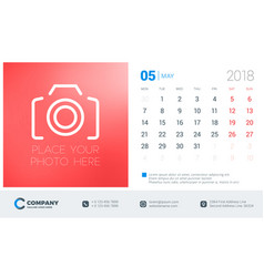 may 2018 desk calendar design template with place vector image