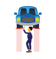 Mechanic standing under car and repairing a car vector
