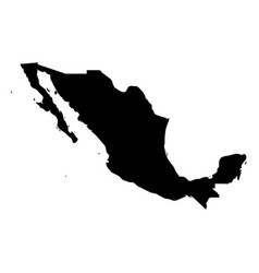mexico - solid black silhouette map of country vector image