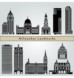 milwaukee landmarks and monuments vector image