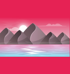 Mountain sea - cartoon landscape vector