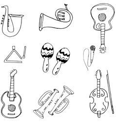 Music tools in doodle vector