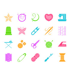 Needlework color silhouette icons set vector