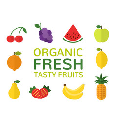 Organic fresh tasty fruits concept set of flat vector