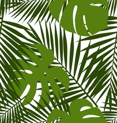 Palm leaf and monstera silhouettes seamless vector image
