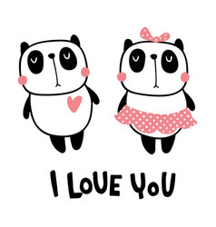 panda couple vector image