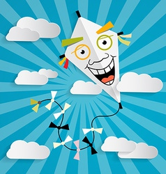 Paper Kite on Sky with Clouds vector image