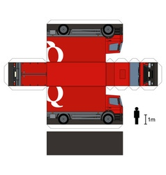 Paper model of a red truck vector