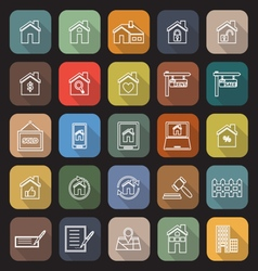 Real estate line flat icons with long shadow vector