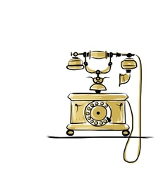 Retro telephone sketch for your design vector