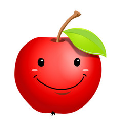 Ripe apple fruit cartoon character vector