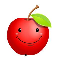 ripe apple fruit cartoon character vector image