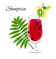 Sangria fruit cocktail isolated on white vector