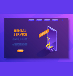 scooter rental service landing page layout vector image