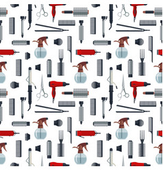 Seamless pattern of hairdresser objects in flat vector