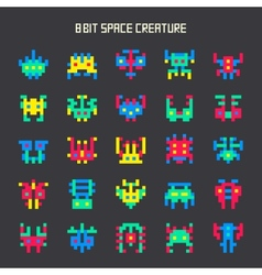 Set of 8-bit color space monsters vector