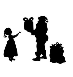 silhouette santa claus giving girl present vector image