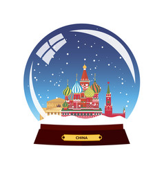 Snow globe city russia moscow in snow globe vector
