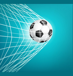 Soccer ball into net goal vector