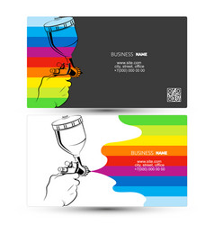 Spray gun in hand business card vector