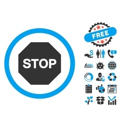 Stop Sign Flat Icon with Bonus vector image