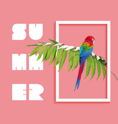 summer paradise design bird and palm tree vector image